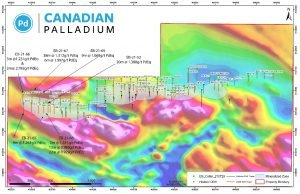 Drill intersections reported in this release relative to the East Bull Palladium Deposit. Base map is an airborne total field magnetic survey.